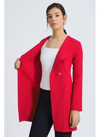 Jument Boyfriend Şal yaka Tek Düğme Uzun Kumaş Ofis Ceket Kırmızı